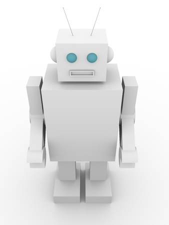 Front view of an old fashioned robot. Vintage style humanoid photo