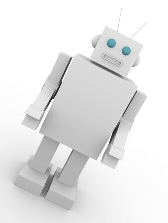 Vintage style robot. Old fashioned cyborg. Concept of technology. photo