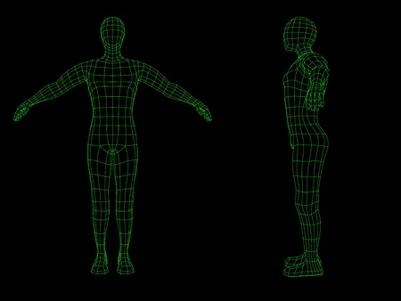artificial model: Side and front view of a wire figure of a man in green over a black background