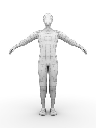 body outline: Illustration of a wired man. Futuristic concept