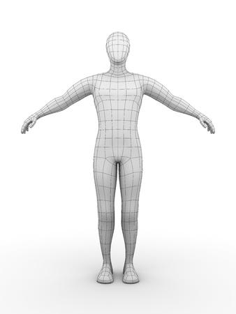 outline drawing: Illustrazione di un uomo cablata. Concept futuristico
