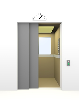 Elevator opening the door in 6th floor. 3d render photo