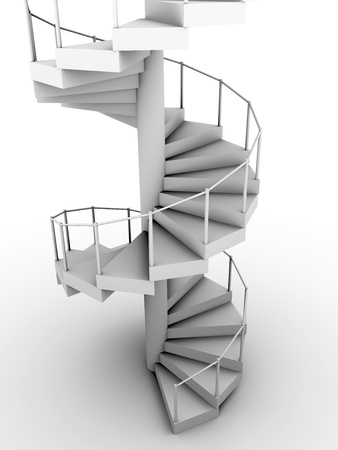 Snail staircase in white. Circular construction. 3d render photo
