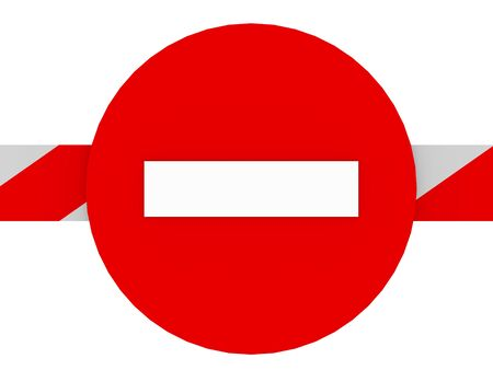 No entry sign on a barrier in white and red. Forbidden signal photo