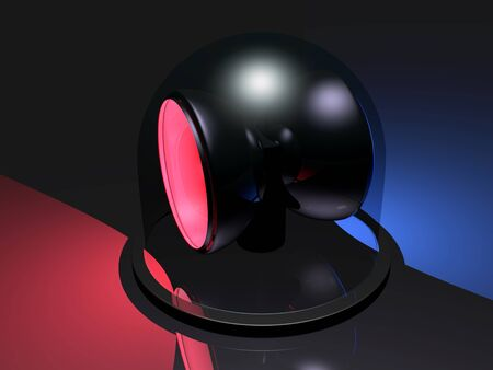 Emergency siren with blue and red lights photo