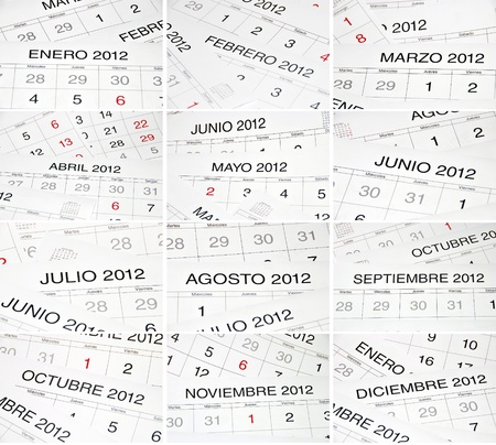 Set of pictures with the names of the months. Spanish 2012 calendar photo
