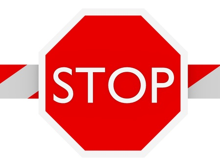 no entry sign: Stop sign in a barrier in white and red Stock Photo