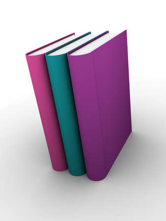 Three books standing. Turquoise, pink and purple. Education concept Stock Photo - 12390584