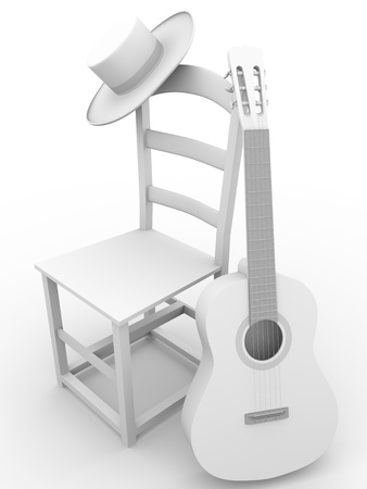 Guitar, chair and hat. Flamenco art symbols photo