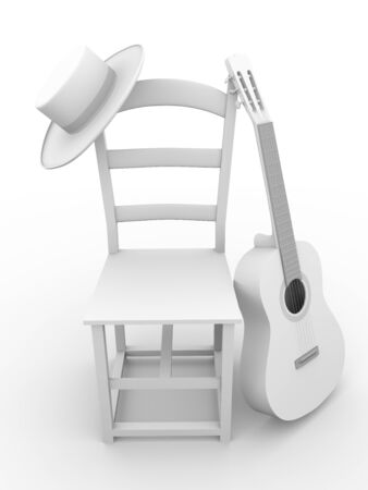guitarists: Guitar, chair and hat. Flamenco art symbols