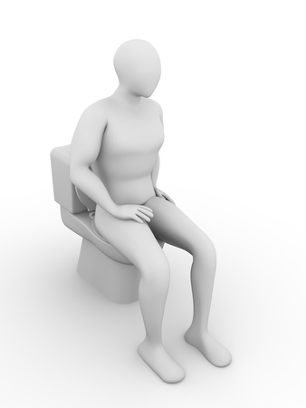 empty the bowel: Man at the toilet. Water closet. Toilet bowl. 3d render