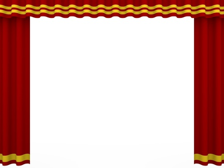 theater auditorium: Red curtain of a theater isolated over white.