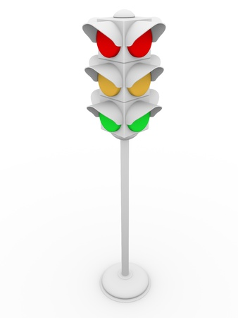 Semaphore over a white background. Traffic regulation instrument  photo
