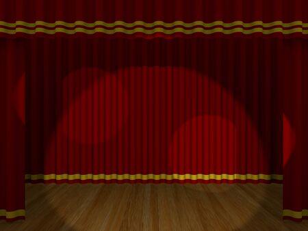 sipario chiuso: Teatro tenda chiusa con le luci. 3d render Archivio Fotografico