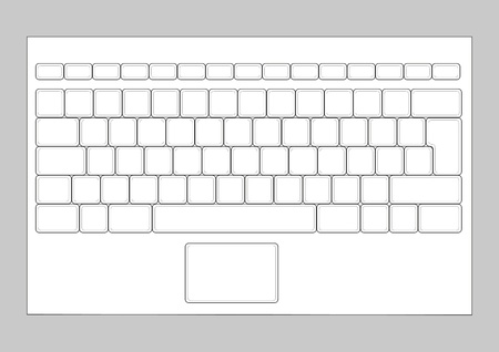 computer key: Laptop blank keyboard layout. Computer input element Illustration