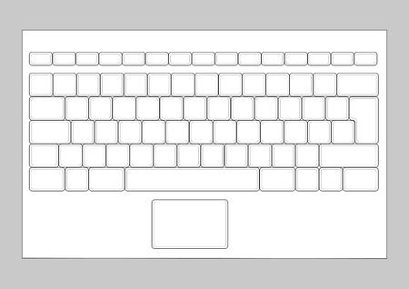 klawiatura: Laptop puste układ klawiatury. Element Wejście komputerowe Ilustracja