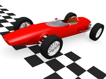 Vecchia macchina da corsa in stile il traguardo.