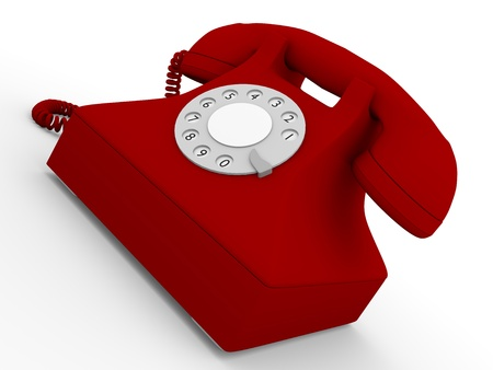 Old fashioned telephone in red  3d Illustration illustration