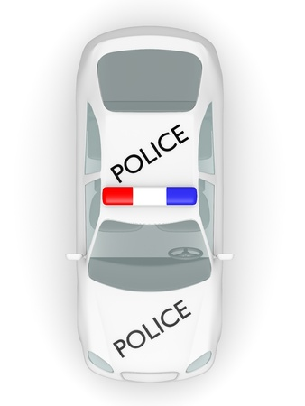 enforcement: Top view of a police car  3d illustration Stock Photo