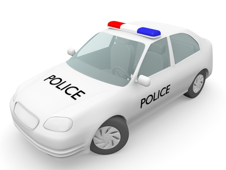 Police car in white  Security concept  3d Illustration  illustration