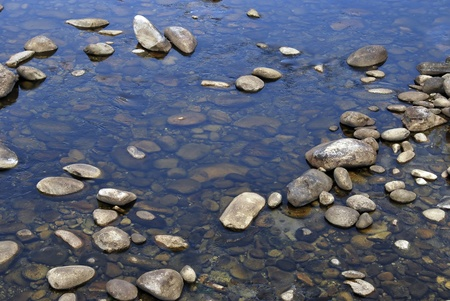 Rounded stones on a mountain river  Tranquil scene photo