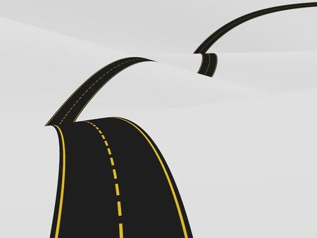 Illustration of a curvy road over the hills illustration