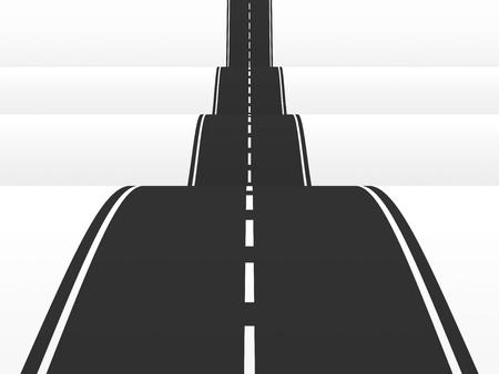 Straight road over the hills  3d illustration illustration