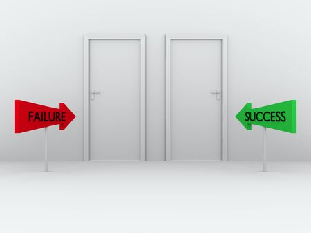 Two closed doors with different choices  Success and failure  Business concept photo