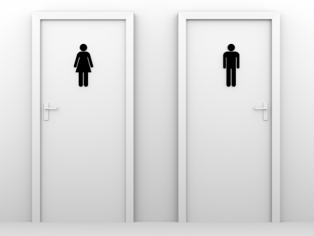 restroom sign: toilet doors for male and female genders