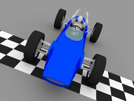 bolide: the winning driver raises his arms in the finish line of a car race Stock Photo