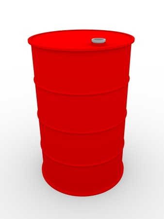 gas cylinder: 3D illustration of a metallic drum in red