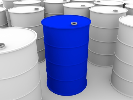 Metallic drums. Industrial container for oil and chemical products photo