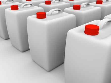 gallons: Plastic gallons in white with red caps. 3d Illustration