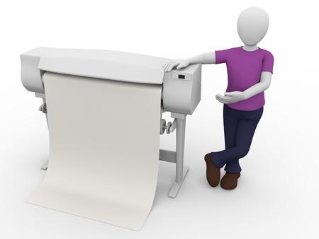 impresora: Un trabajador con un plotter. Impresora grande para las artes gráficas