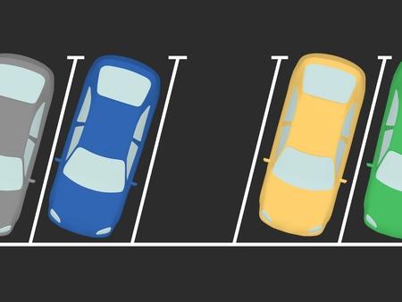 parked: Geparkeerde auto's op de parking. Een vrij is Stockfoto