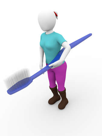 A girl is holding a toothbrush. 3d Illustration illustration