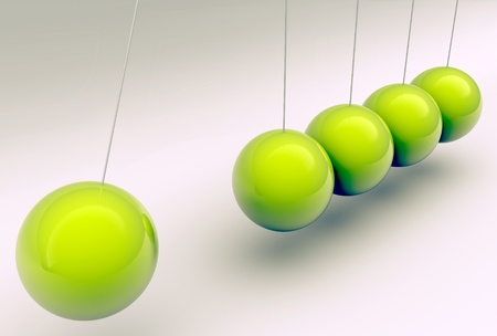 creative force: Newton cradle with metallic balls in green, 3d illustration