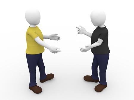 Twee mensen zijn het behoud van een gesprek. Communicatie concept
