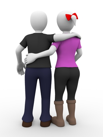 A rear view of an heterosexual couple hugging Stock Photo - 12946333