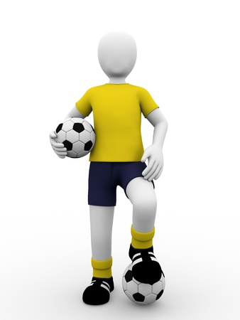 A soccer player standing with two balls. European footballer photo