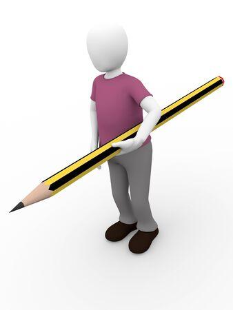 3d illustration of a man holding a pencil Stock Illustration - 12946339