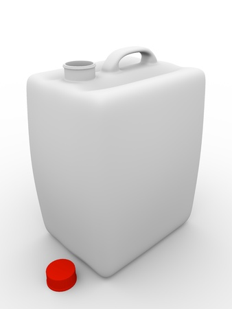 Plastic gallon in white open. Cap is on the background photo
