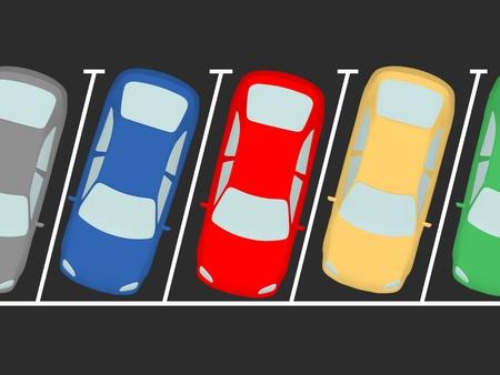 parked: Geparkeerde auto's op de parking. Alle plaatsen zijn bezet