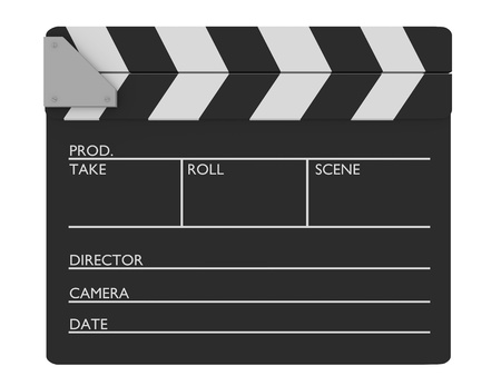 Closed cinema slate. Customizable and Isolated over white photo