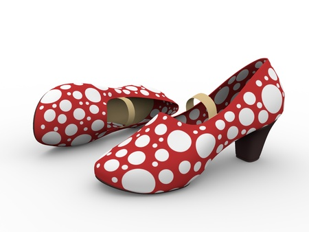 tap dance: Two red an white female flamenco shoes