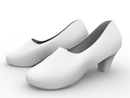 A pair of comfortable female shoes in white photo