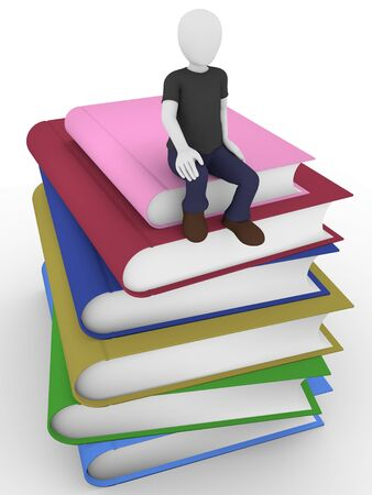 literary man: A man is sitting on some books