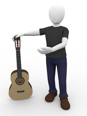 A guitarist is holding a spanish guitar photo