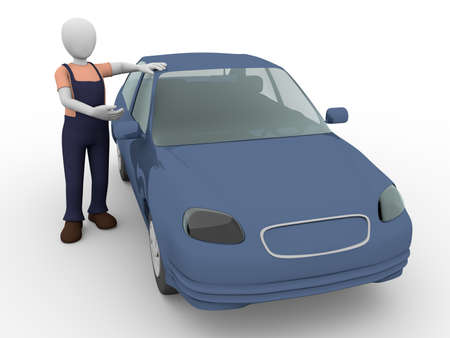 repaired: a mechanic presents a recently repaired car