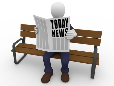 A man is sitting and reading today news on the newspaper Stock Photo - 13283230